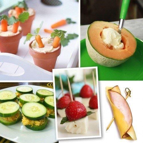 Δώστε τέλος στη λιγούρα με 5 υγιεινά snacks: καρότα με χούμους, πεπόνι με παγωτό βανίλια, τόνος με αγγούρι, φράουλες με φέτα, γαλοπούλα με τυρί