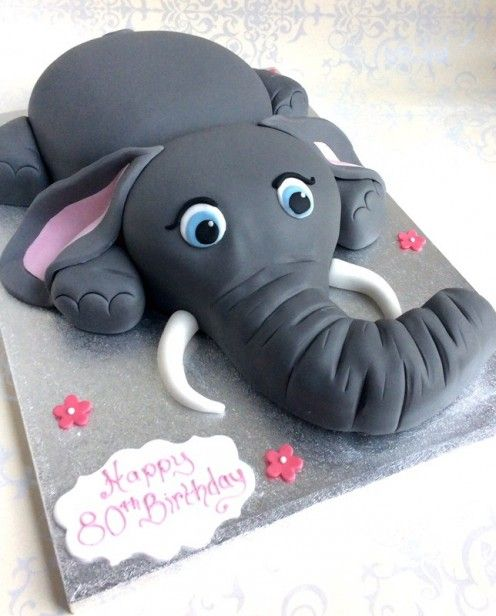 Elle the Elephant. Irresistible! This is perfect for any Elephant lover no matter the age! Elle comes on a 45cm x 35cm board and can be ordered in vanilla Genoese or Belgian chocolate cake and will give approximately 40 to 50 portions.