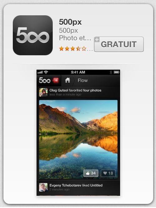 """La célèbre plateforme 500px (qu'on ne présente plus), vient enfin de sortir une application sur Iphone. On n'a donc plus d'excuse pour ne pas être à jour dans nos """"Like"""" et """"Dislike"""".    L'application est à l'image du site : noire (pour mettre en avant un maximum les photos), simple et ergonomique."""