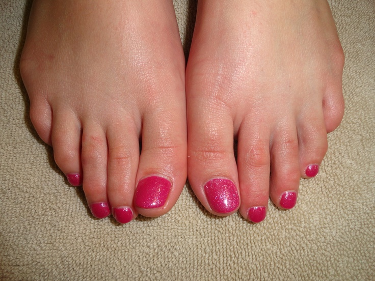 Hot Pink Glitter Shellac Toes