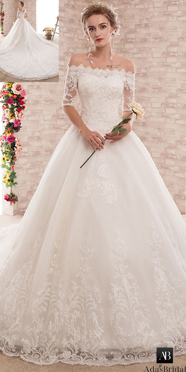 f505253f542fa Attractive Tulle Off-the-shoulder Neckline Ball Gown Wedding Dress With  Beaded Lace Appliques