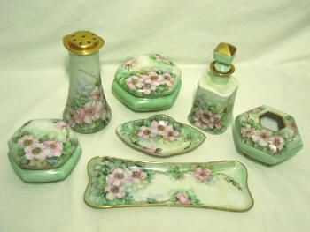 Antique Dresser Vanity Set Trays Bo Tal Shaker Perfume Hand Painted Porcelain