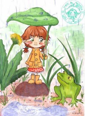 Little Tot with frog :) Media: watercolour