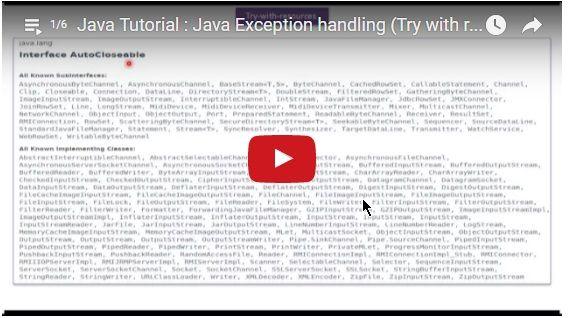 ramram43210,J2EE,Java,java tutorial,java tutorial for beginners,java tutorial for beginners with examples,java programming,java programming tutorial,java video tutorials,java basics,java basic tutorial,java basics for beginners,java interview questions and answers,java basic concepts,java basics tutorial for beginners,java programming language,java exception,exception handling in java,java try with resources,try with resources in java