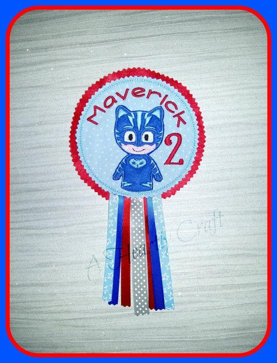 Personalized Birthday Badge with Cat Boy Bedtime Hero Theme - PJ - Mask - Hero - Costume PJ Mask Masks on Etsy, $11.35