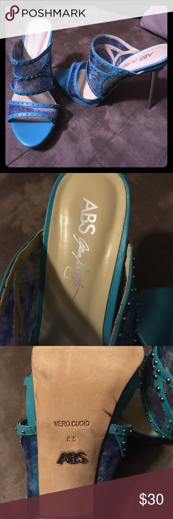 """ABS Allen Schwartz Vero Cuoio Teal Kitten Heels Worn once but only inside!  Like new condition. 6"""" silver metallic heel. Teal mesh with silver beads. EUC. Smoke free home. All measurements are approximate. ABS Allen Schwartz Shoes Heels"""