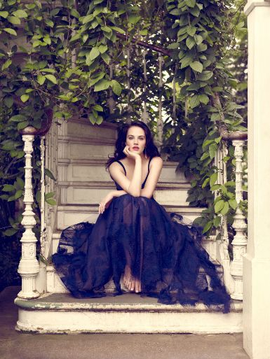 Jessica Brown-Findlay in a black dress - my favorite of the Vogue photos!