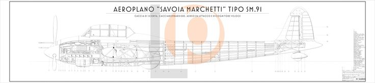 Aeroplano S.I.A.I. Marchetti SM.91-Cod. SM91-126x28 FIANCO