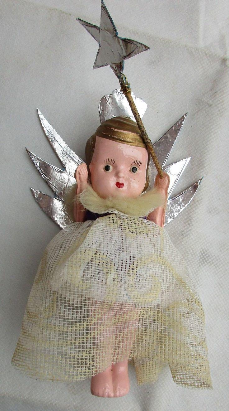 Fairy christmas ornaments - Vintage Christmas Tree Fairy Angel Doll