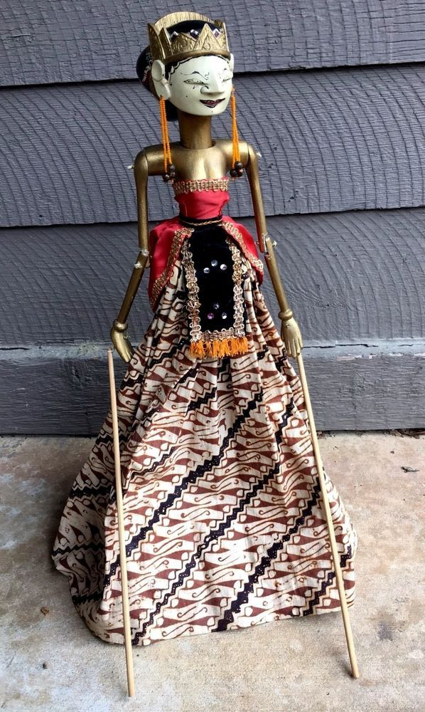 Vtg 1950s Java Indonesia WAYANG GOLEK Theater Hand Puppet Doll Painted Carved