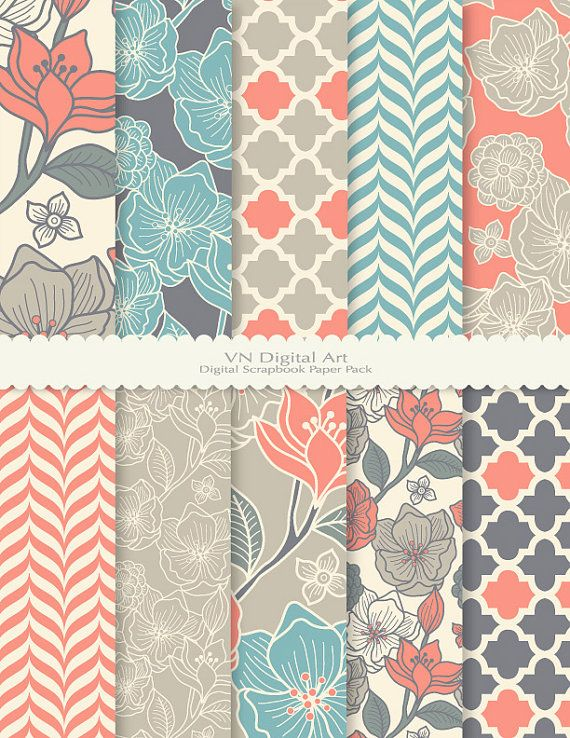 Floral Pattern Digital Scrapbook Paper Pack by VNdigitalart, $3.00