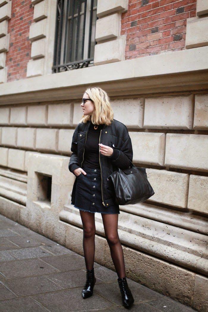 adenorah- Blog mode Paris: Bomber Jacket + Skirt + Ankle Boot