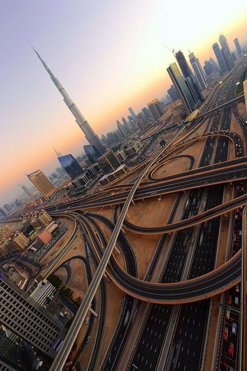 Dubai road system with sky line and the Burj Khalifa. #architecture #buildings