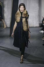 65-3.1 Phillip Lim Fall/Winter 2015/2016 Collection thick fur collar, trench over suit pant, navies