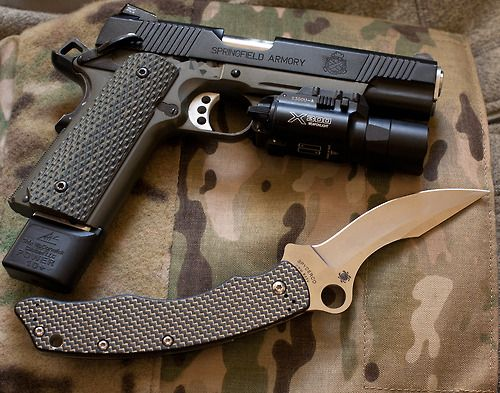 Springfield 1911 .45ACP/tac-light & Spyderco fOLDER