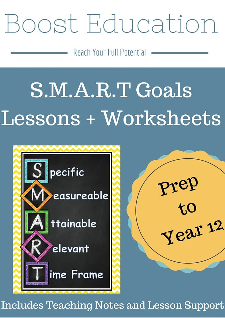 SMART Goals – Worksheets for Foundation to Year 12 + Teaching Notes has printable worksheets designed to help students create their own goals using the SMART goals acronym. 19 pages for $3!