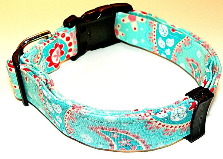 Paisley Dog Collar Pink, Peach  Red Paisley  Turquoise Dog Collar Pet Collar  Girl Dog Collar  Large Dog  Summer  Pretty- Size LG (15-24). $18.00, via Etsy.