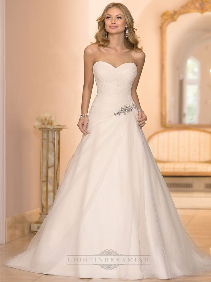 Sweetheart Cross Asymmetrical Ruched Bodcie A Line Wedding Dresses