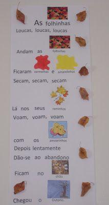 """As """"laranjinhas""""  adoraram aprender a canção do Outono e também  adorarm fazer a sua mímica. A melodia é a da canção """"Doidas andam as galin..."""