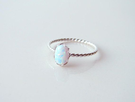 October Birthday Small Oval Opal Ring. Sterling Silver Twisted Ring. Bridesnaid Gift. Simple Modern Jewelry by PetitBlue