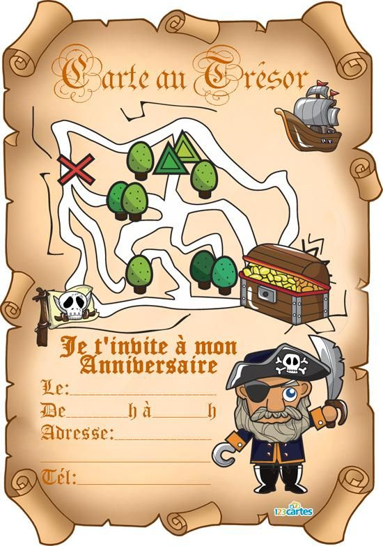 Invitations Anniversaire Sur Le Theme Des Pirates Ici Invitations