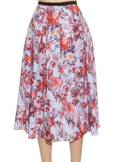 Erdem Imari floral-print cotton-poplin skirt