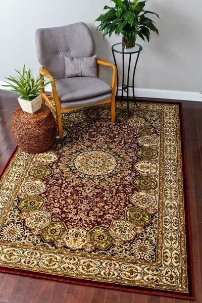 Red Green Persian Rugs Isfahan Oriental Large Area Traditional Pinterest And