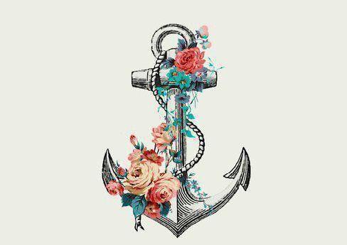 Dessin tatouage ancre et fleurs