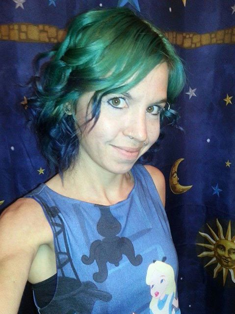Splat Deep Emerald With Blue Envy Tips Green Hair