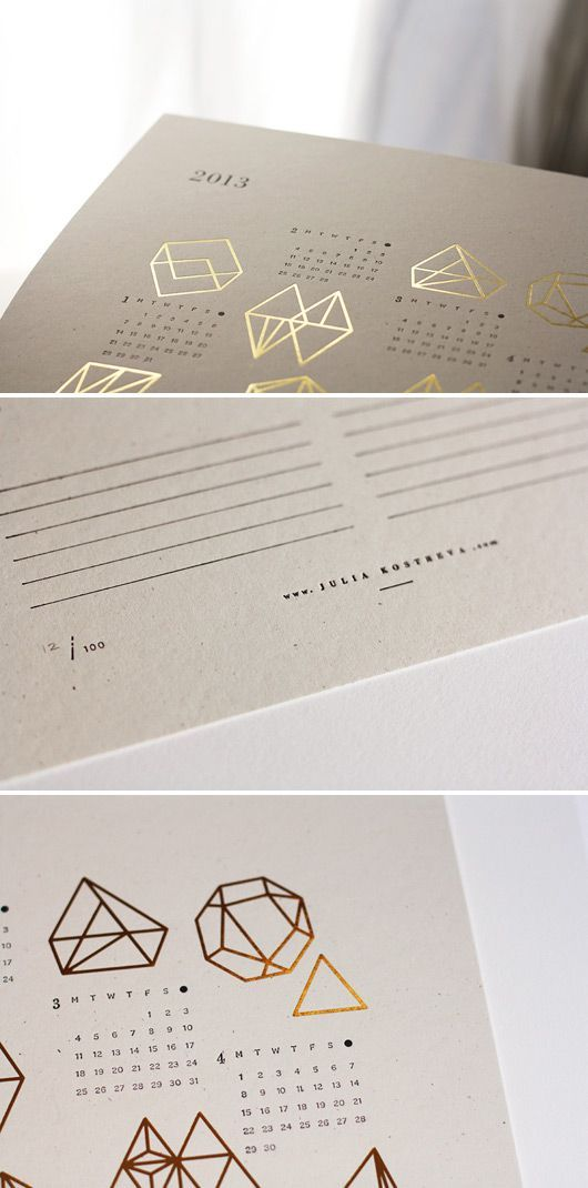 julia-kostreva-gold-letterpress-calendar: