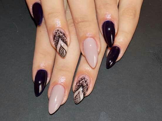 Dark blue almond nails  Yesssss