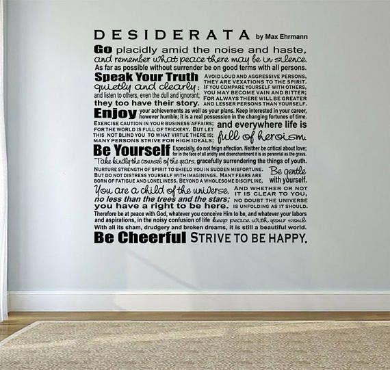 Large Wall Art Decal Desiderata Max Ehrmann Decal Wall Art Desiderata Large Wall Art