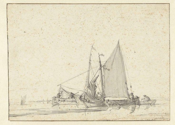 Twee schepen in stil water, Jan van de Cappelle, 1634 - 1679