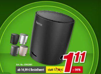 """Völkner: Bluetooth-Lautsprecher für 1,11 Euro, weitere Artikel für 11 Euro https://www.discountfan.de/artikel/technik_und_haushalt/voelkner-bluetooth-lautsprecher-fuer-111-euro-weitere-artikel-fuer-11-euro.php Bei Völkner ist ein """"Super-Wochenende"""" gestartet: Den """"Hama Mini Bluetooth-Lautsprecher"""" gibt es für nur 1,11 Euro, weitere 24 Artikel sind für je elf Euro frei Haus zu haben. Völkner: Bluetooth-Lautsprecher für 1,11 Euro, weitere Artik"""