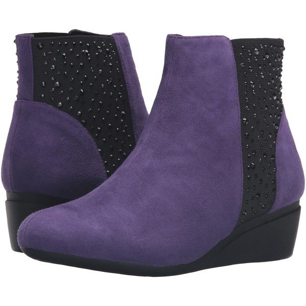 J. Renee Kareena (Purple) Women's Boots ($20) ❤ liked on Polyvore featuring shoes, boots, purple, synthetic boots, j renee boots, traction shoes, faux-fur boots and j renee shoes