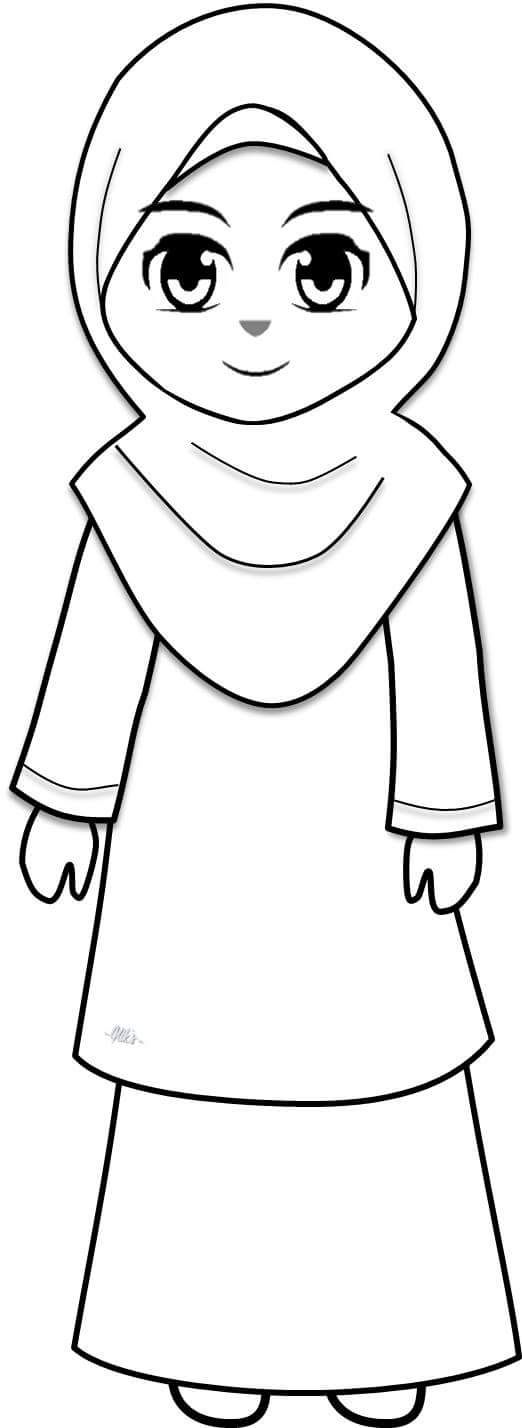 Muslim Girl Coloring Pages