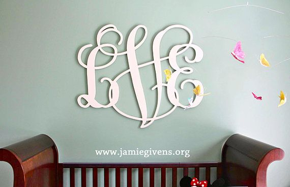 """Up to 48"""" Large Wood Monogram, 3/4"""" depth, PAINTED with all hanging hardware attached and included.  Large custom painted wood letters."""