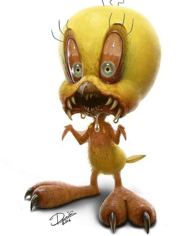 11 personagens fofinhos desenhados como se fossem monstros de terror