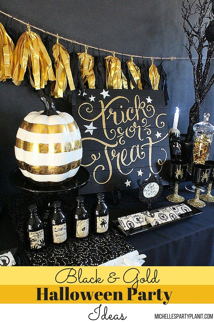 Halloween party decor - Be On Trend With A Black Gold Halloween Party Ideas And Inspiration By Michelle S
