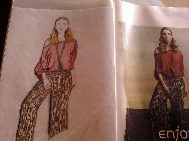 Praticando cópia de desenhos de moda!!