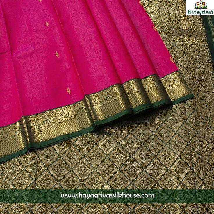 Glow like a princess in this royal pink silk saree at #Hayagrivassilkhouse. Here is the symbol of royal pink #traditional #kanjivaram silk saree with green border and pallu with zari designs. #silksarees #Weddingsilks #Festiveoccassion #Traditional Visit us: https://www.hayagrivassilkhouse.com/saris/2214.html Call us: 91 9840582892