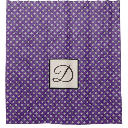 Purple Woven Rattan on Custom Color with Monogram Shower Curtain - monogram gifts unique custom diy personalize