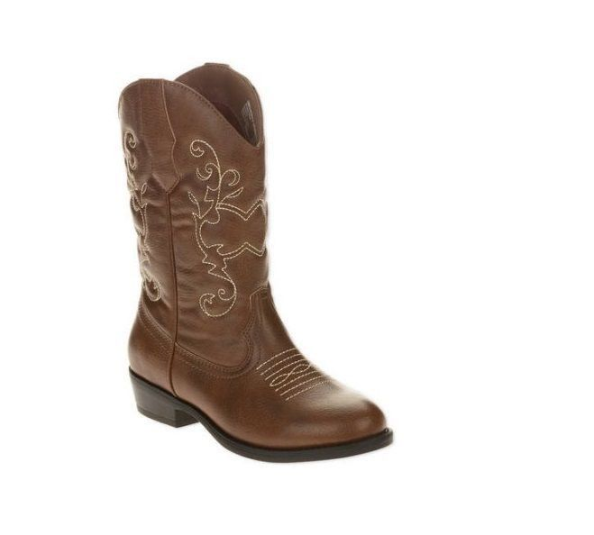 Faded Glory Girls Cowboy Boots, 5, Brown