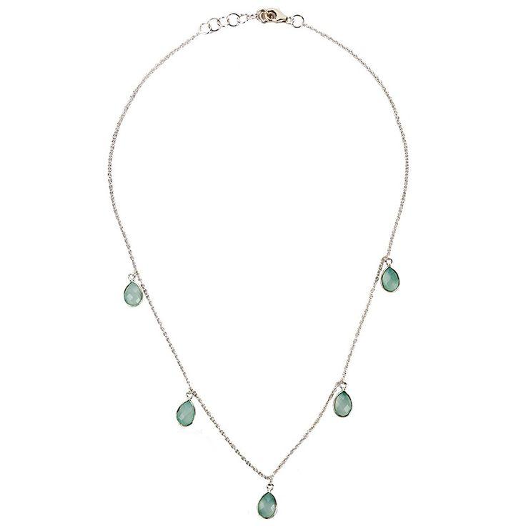 Silver Aqua Chalcedony Multi Teardrop Necklace
