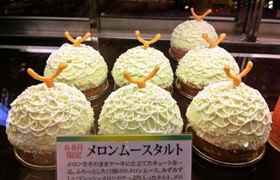 Melon Mousse Tartlets  夏の新作ケーキ メロンムースタルト (A cake newly created for summer: Melon Mousse Tartlet)