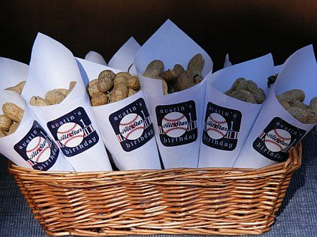 Great idea! peanuts for baseball theme party