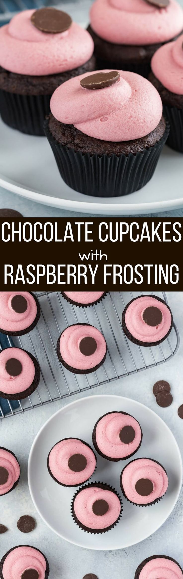 These Chocolate Raspberry Cupcakes are rich, moist decadent chocolate cupcakes topped with a luscious raspberry buttercream frosting! #ad #ComeBackNew @PrincessCruises