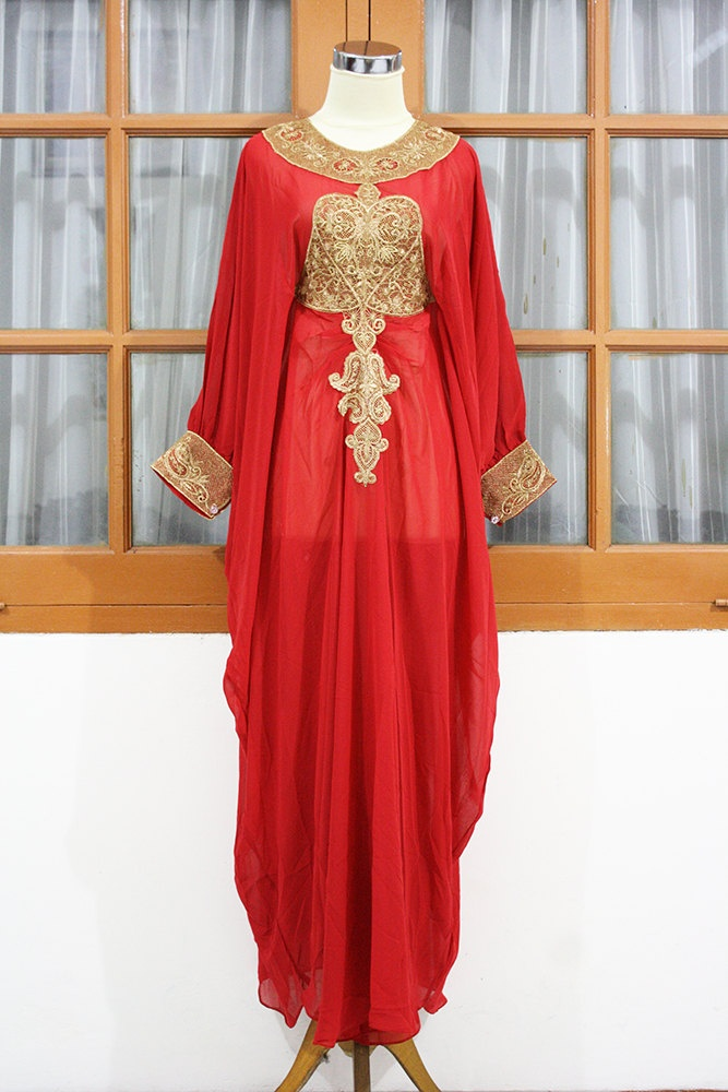 LIMITED EDITION - Red Ruby moroccan kaftan Dubai style gold embroidery abaya maxi dress farasha hijab jalabiya. $62.99, via Etsy.