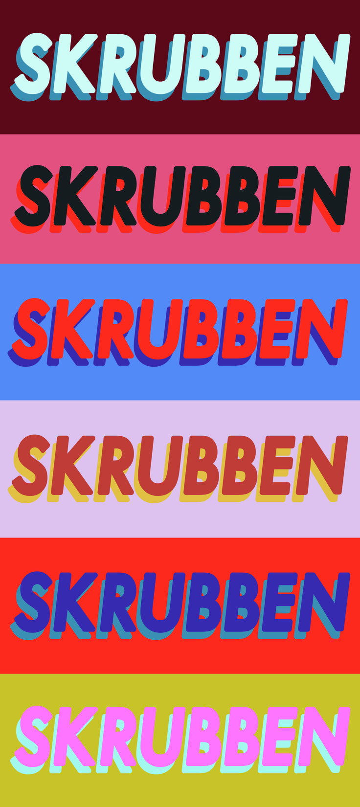 """Visual identity for the comedy club """"Skrubben"""" in Sweden. Art direction and graphic design by Ingrid Linnéa Arnsand Jonsson and Milly Björkman. www.mynameisingrid.com"""
