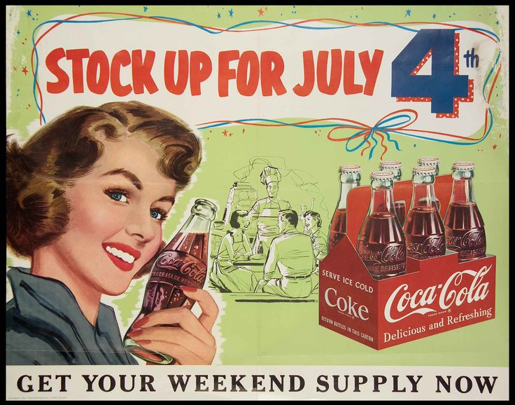 Holiday Photos From the Coca-Cola Archives:  A 1953 promotional display for July 4th party planners.